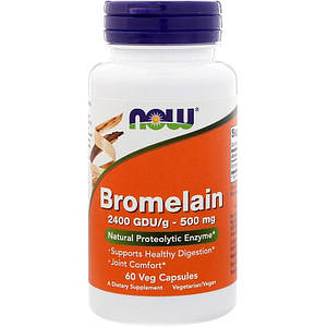 NOW Bromelain 500 mg 60 veg caps, НАУ Бромелайн 500 мг 60 капсул