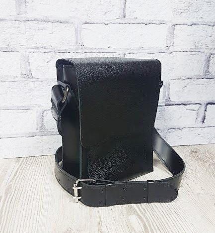 Сумка-планшет мужская кожаная черная 1604