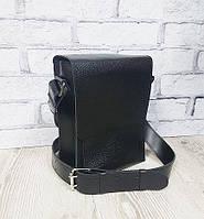 Сумка-планшет мужская кожаная черная 1604, фото 1