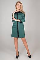 Платье прямое Таура трикотаж джерси с гипюровыми вставками 44-52 размер зеленое, фото 1