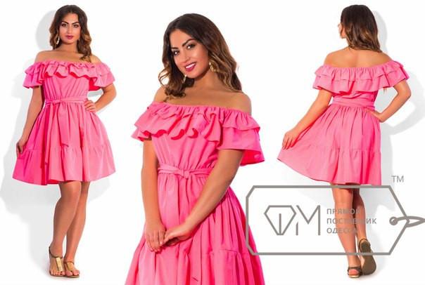 Красивое летнее платье с воланом и открытыми плечами (в больших размерах) разные расцветки y-15uk658