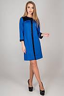 Платье прямое Таура трикотаж джерси с гипюровыми вставками 44-52 размер электрик, фото 1