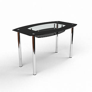 Стіл обідній зі скла в кухню вітальню Twist Black БЦ-стол