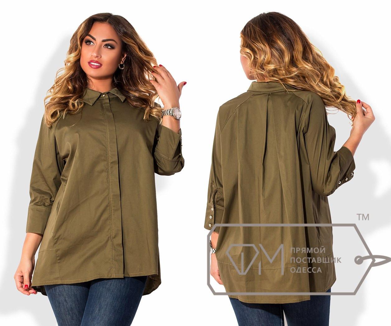 Женская свободная рубашка в батальных размерах w-15uk827