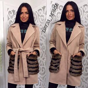 Кашемировое женское пальто с меховыми карманами р-5lt96