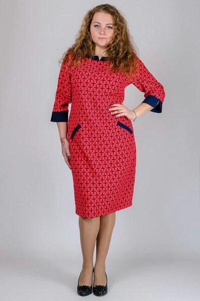 Прямое платье с мелким принтом в больших размерах e-30uk933