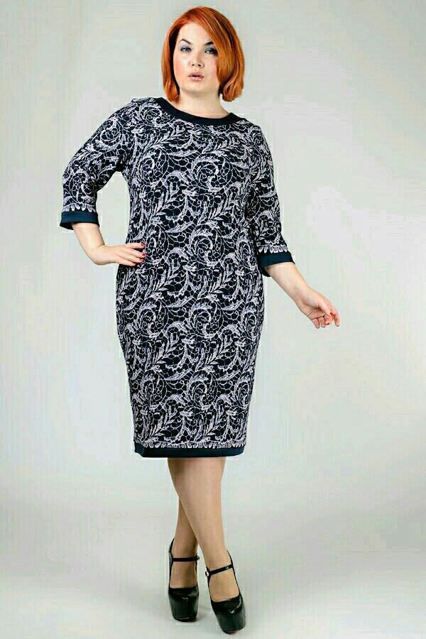 Принтованное свободное платье в батальных размерах y-30uk936