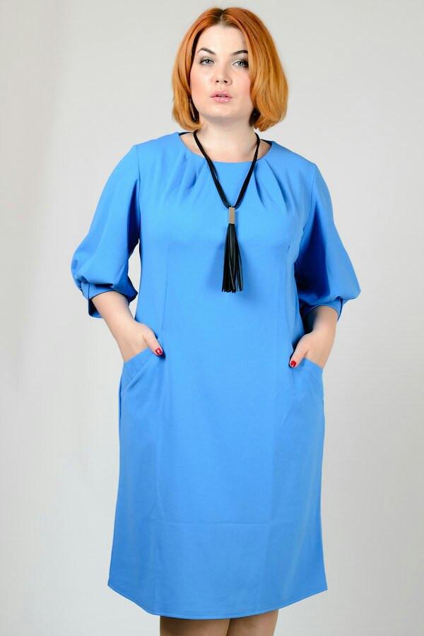Прямое платье с карманами в больших размерах h-30uk946