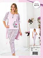 Женская пижама (в наборе: халат, футболка, штаны)