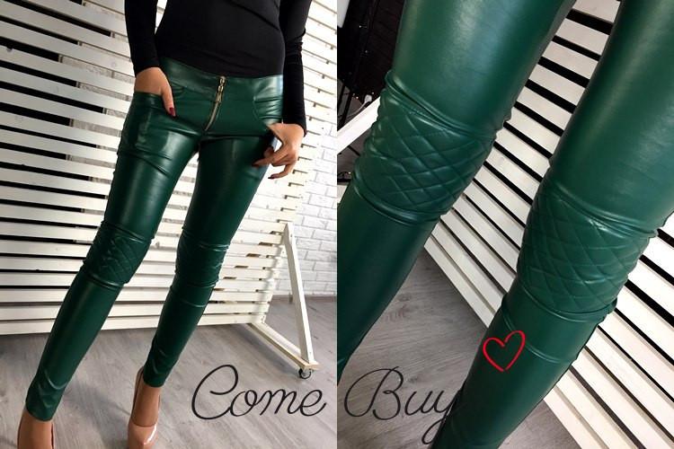 Женские кожаные брюки на флисе о-56lr183