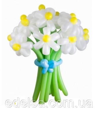 """Букет з повітряних кульок """"ромашки білі з жовтою серединкою"""" 15 шт"""