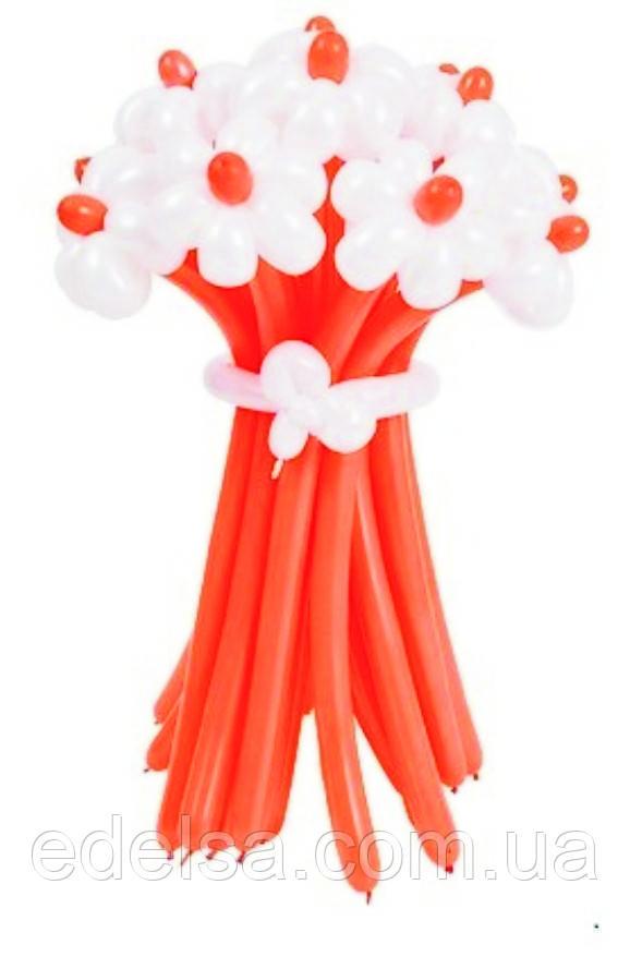 """Букет з повітряних кульок """"ромашки білі з помаранчевим"""" 11 шт"""
