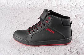 Зимние высокие кроссовки из натуральной кожи 40-45 р чёрный