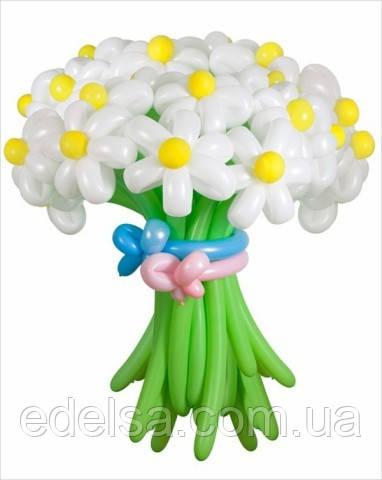 """Букет из воздушных шаров """"ромашки белые с желтой серединкой"""" 21 шт"""