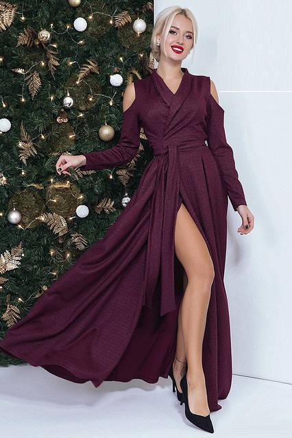 Длинное платье с высоким разрезом 41463  (42–46р) в расцветках, фото 5
