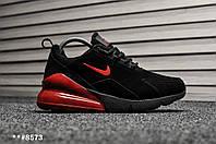 Мужские зимние кроссовки на меху Nike Air Max 270 Black Red Suede