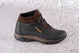 Зимние кроссовки из натуральной кожи 40-45 р чёрный+кричневый