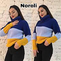 """Вязаный женский свитер """"Попугайчик"""", электрик+голубой+оранж, фото 1"""