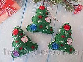 """Новогодние игрушки из фетра, """"Елочка"""", цвет зеленый, 1 шт"""