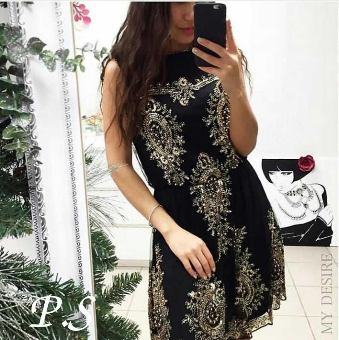 Платье женское нарядное,расшитое золотыми пайетками