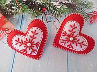 """Новогодние игрушки из фетра """"Сердце"""", цвет красный, 1 шт"""