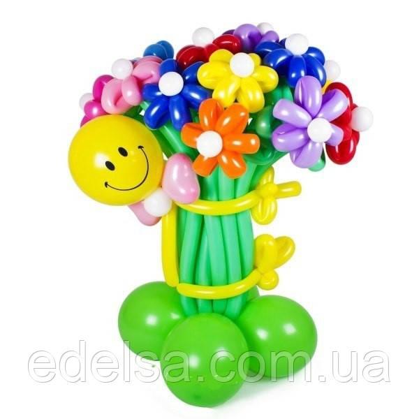 """Букет из воздушных шаров """"ромашки разноцветные со смайлом на основе"""" 15 шт"""