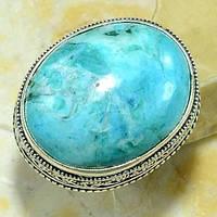 Бирюза, красивое кольцо 19 размер с природной бирюзой в серебре. Кольцо с камнем бирюза. Индия!, фото 1