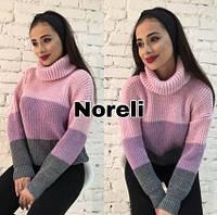 """Вязаный женский свитер """"Попугайчик"""", пудра+сирень+серый, фото 1"""