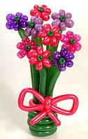 """Букет из воздушных шаров """"ромашки одноцветные в мини-вазе"""" 9 шт"""
