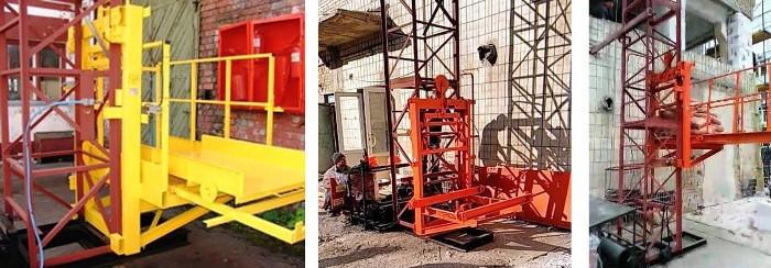 Высота подъёма Н-35 метров. Строительные мачтовые грузовые подъёмники ПМГ г/п 1000кг, 1 тонна.