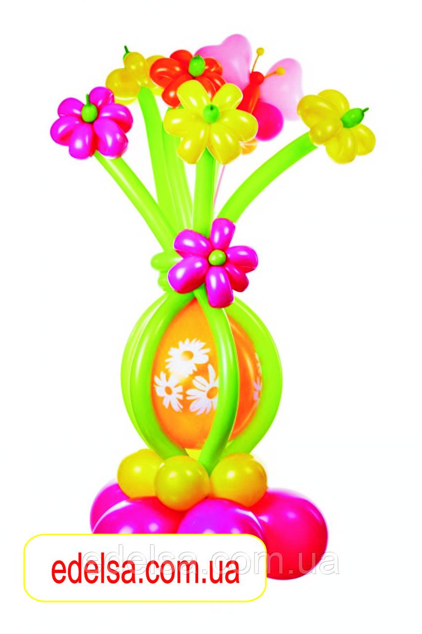 """Букет из воздушных шаров """"ромашки разноцветные с шаром на основе"""" 7 шт"""