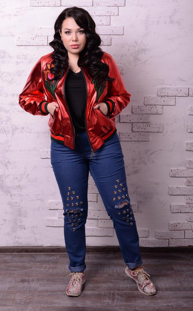 Женские джинсы с разрезами в больших размерах q-t10uk1233