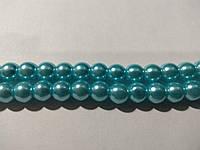 Бусы под жемчуг, бусины 8 мм керамические перламутровые, нить ок. 54 шт. Голубые (свело-бирюзовые)