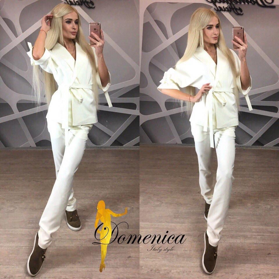 Нарядный женский костюм с поясом в расцветках f-t31st550