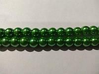 Бусы под жемчуг, бусины 8 мм керамические перламутровые, нить ок. 54 шт. Зелёные