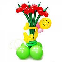 """Букет из воздушных шаров """"ромашки-сердечки со смайлом на основе"""" 5 шт"""