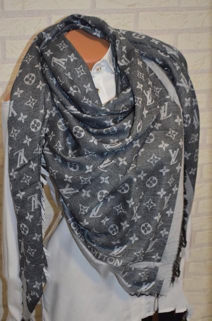 Женский платок Louis Vuitton Monogram (в стиле Луи Витон) серый