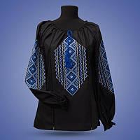 """Женская рубашка - вышиванка """"Ромбы"""" черная"""