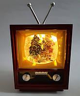 """Новорічний декор лампа - """"Телевізор"""" зі снігом Musical Television Snow Globe Light"""