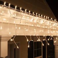 Уличная Светодиодная гирлянда Бахрома ,Теплый  Белый, мерцающая, 3х0.8м, 105 LED Белый провод
