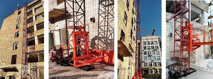 Высота подъёма Н-15 метров. Строительные мачтовые грузовые подъёмники ПМГ г/п 1000кг, 1 тонна.