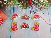 """Набор пуговиц деревянных """"Новый год-2"""", цвет микс, 6 шт, фото 1"""