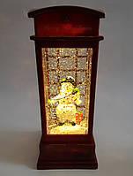 """Новорічний декор лампа - """"Телефонна будка"""" зі снігом Musical Phone Booth Snow Globe Light"""