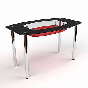 Стіл обідній зі скла в кухню вітальню Бочка (черво-чорний) БЦ-стол