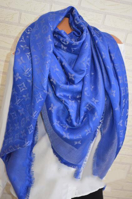 Женский платок Louis Vuitton Monogram (в стиле Луи Витон) синий