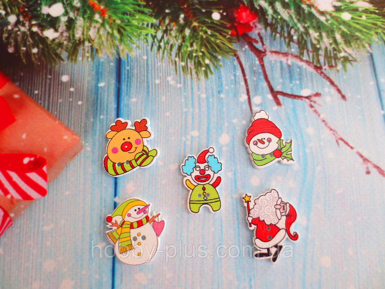 """Набор пуговиц деревянных """"Новый год-1"""", цвет микс, 5 шт"""