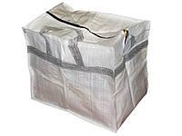 Белая однотонная хозяйственная сумка 600/500мм на молнии для покупок, фото 1