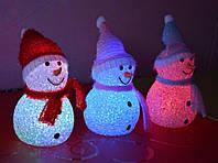 Светильник хамелеон/ ночник меняющий цвета Снеговик, 13 см.