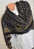Женский платок с люрексом Louis Vuitton Shine Monogram (в стиле Луи Витон) черный, фото 2