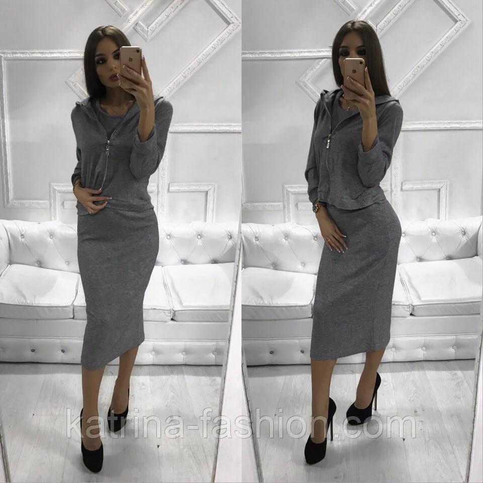 Женский костюм из ангоры: платье-миди и кофта (3 цвета)